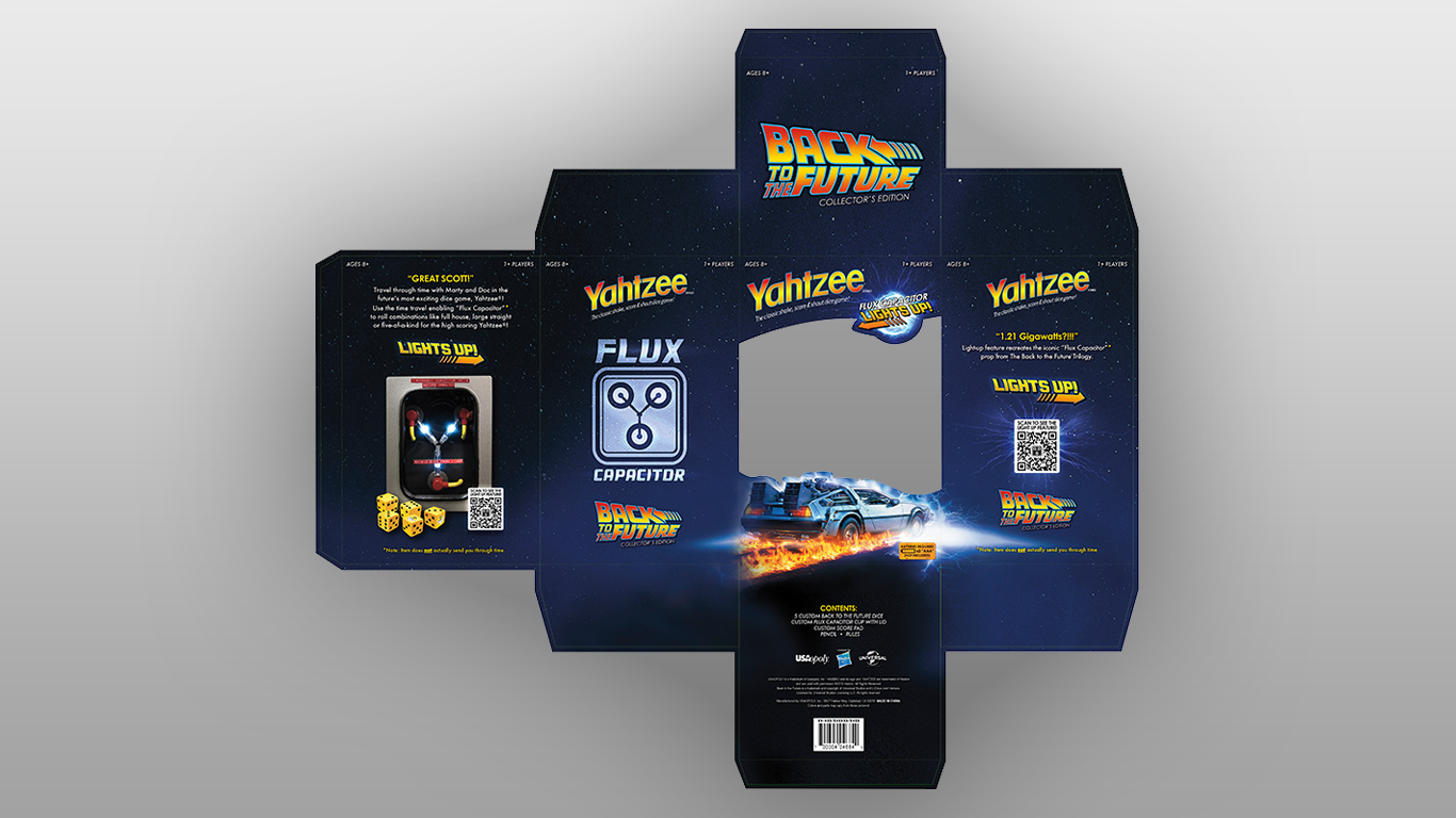 Back to the Future Yahtzee Packaging