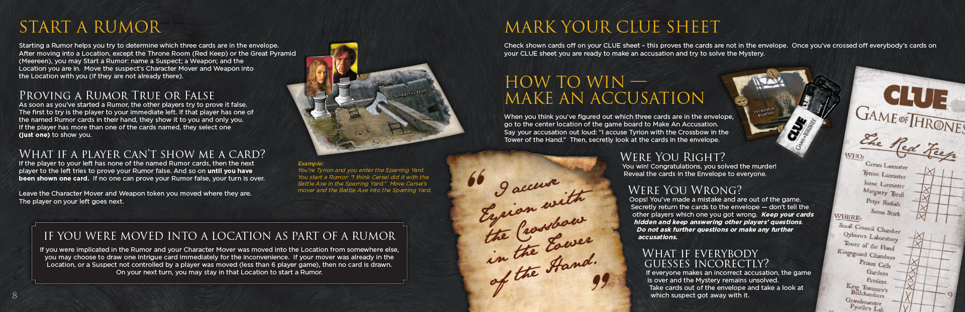 Game of Thrones Clue Rules