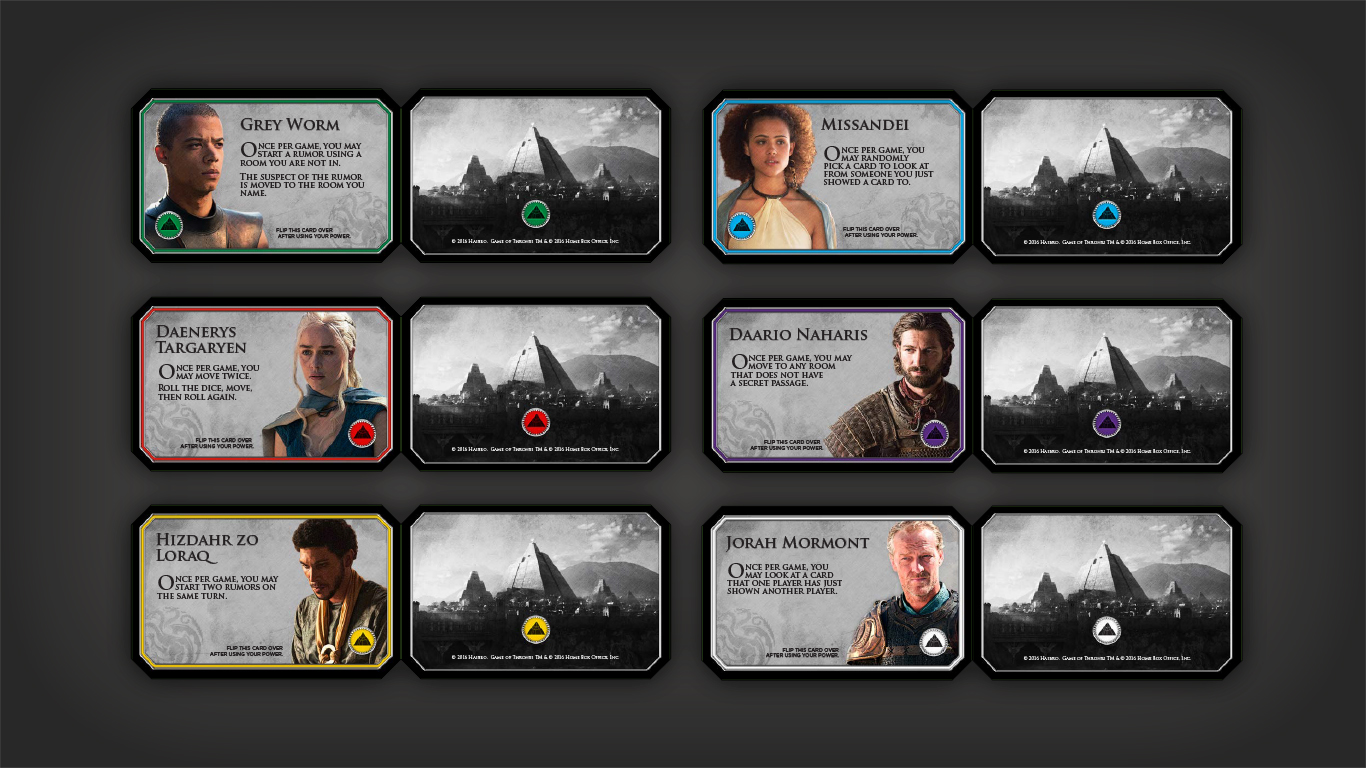 Game of Thrones Clue Cards
